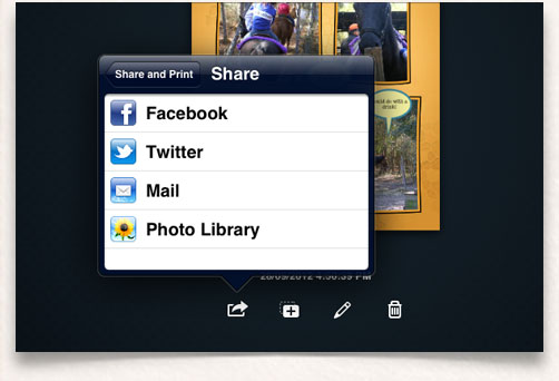 Easily share to Facebook, Twitter, Mail or add to your Photo Library